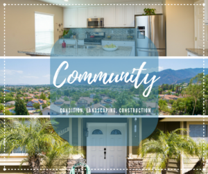 photo of a kitchen, a neighborhood areal photo and a front door with the words Community, Condition, Landscaping and Constuction